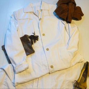 J CREW White Iconic Utility Jacket Trench Coat
